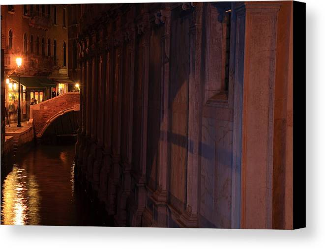 Venice Canvas Print featuring the photograph Canal By The Church Of The Miracoli In Venice At Night by Michael Henderson