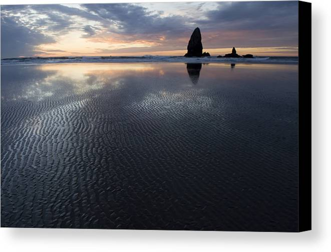 Canon Beach Canvas Print featuring the photograph Canon Beach At Sunset 6 by Bob Christopher