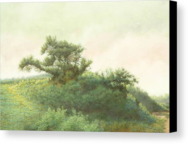 Landscape Canvas Print featuring the painting Cape Cod Scrub by Stephen Bluto