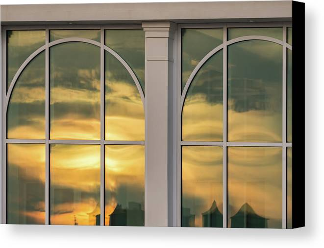 Abstract Canvas Print featuring the photograph Cape May Abstract Sunset Reflection by Gary Slawsky
