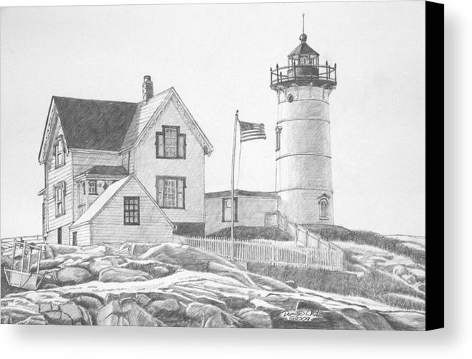 Lighthouse Canvas Print featuring the drawing Cape Neddick Light House Drawing by Dominic White