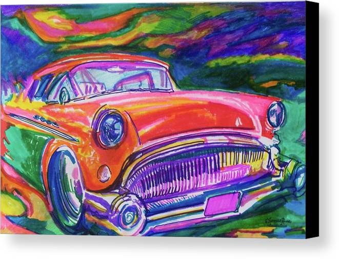 Hod Rod Art Canvas Print featuring the painting Car And Colorful by Evelyn Sprouse Rowe