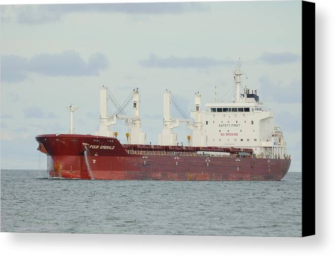 Freighter Canvas Print featuring the photograph Cargo Ship Four Emerald by Bradford Martin