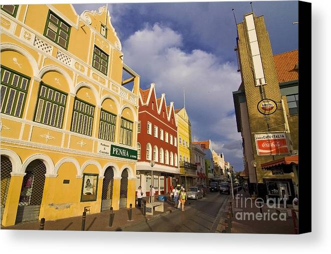 Curacao Canvas Print featuring the photograph Caribbean Shopping District by Sven Brogren