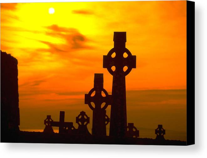 Christian Canvas Print featuring the photograph Celtic Crosses In Graveyard by Carl Purcell