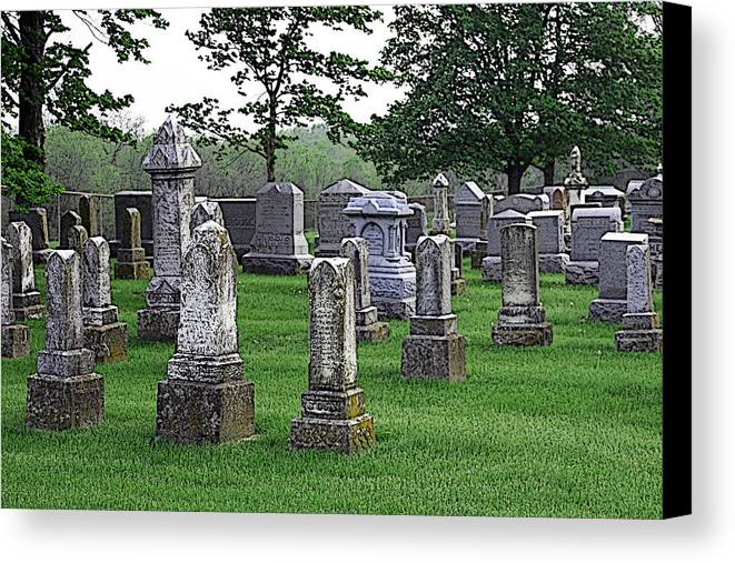 Cemetery Canvas Print featuring the photograph Cemetery Grunge by Carl Perry