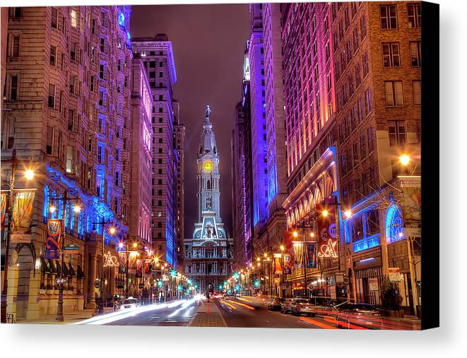 Horizontal Canvas Print featuring the photograph Center City Philadelphia by Eric Bowers Photo