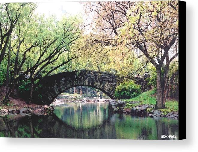 Central Park Canvas Print featuring the digital art Central Park Bridge by Al Blackford