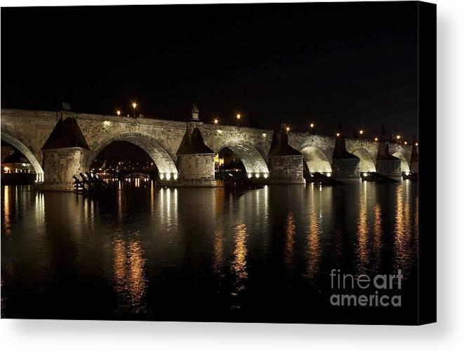 Bridge Canvas Print featuring the photograph Charles Bridge At Night by Michal Boubin