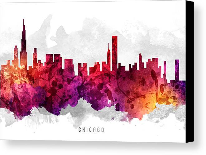 Chicago Canvas Print featuring the painting Chicago Illinois Cityscape 14 by Aged Pixel