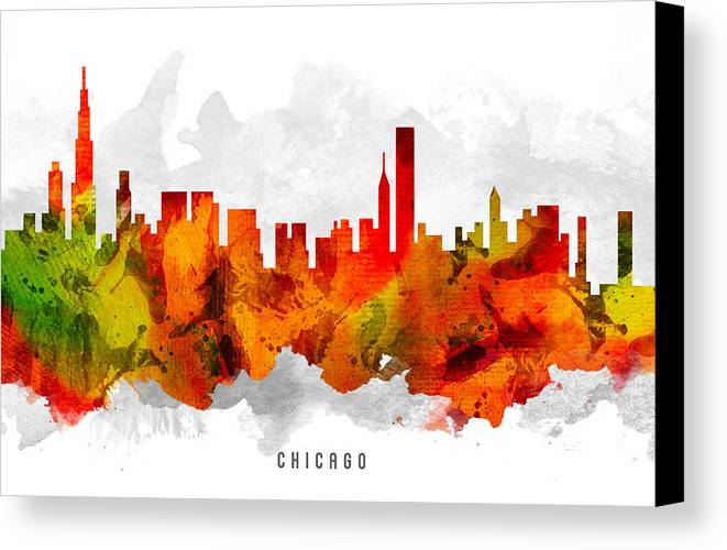 Chicago Canvas Print featuring the painting Chicago Illinois Cityscape 15 by Aged Pixel