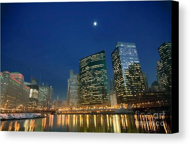 Chicago Skyline Canvas Print featuring the photograph Chicago River With Skyline And Moon by Sven Brogren