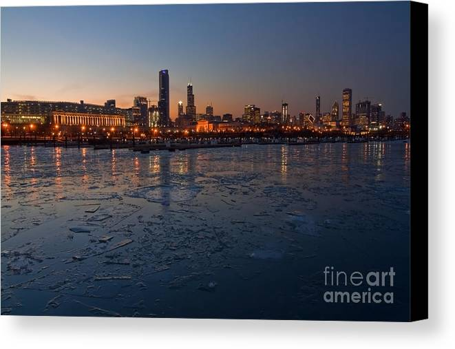 Chicago Canvas Print featuring the photograph Chicago Skyline At Dusk by Sven Brogren