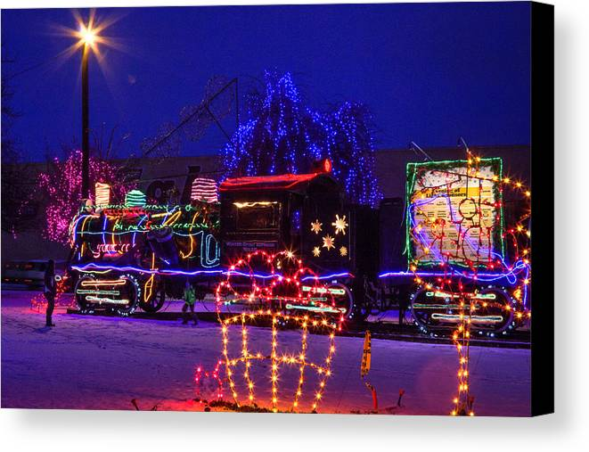 Christmas train park canvas print art by brad stinson