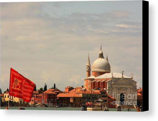 Venice Canvas Print featuring the photograph Church Of The Redentore In Venice With Flag Of Venice by Michael Henderson