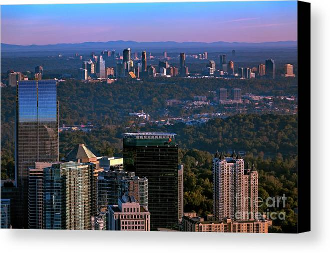 This Incredible View Taken From The Top Of The Bank Of America In Midtown Looking North Shows The Skylines Of Midtown Canvas Print featuring the photograph Cities Of Atlanta by Doug Sturgess