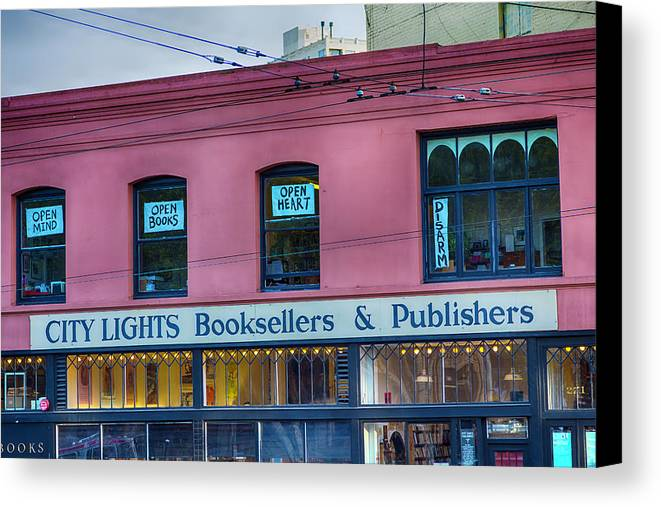 City Lights Booksellers Canvas Print featuring the photograph City Lights Booksellers by Garry Gay