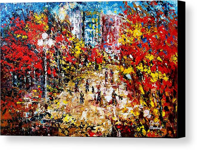 Abstract Canvas Print featuring the painting City Park by Claude Marshall