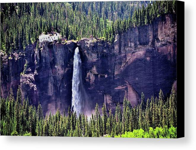 Landscape Canvas Print featuring the photograph Close-up Telluride Falls by Gerald Blaine