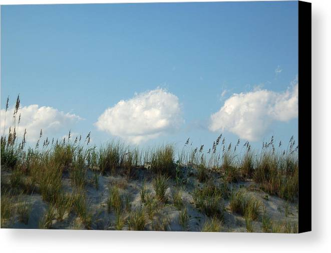 Dune Canvas Print featuring the photograph Cloud Trio And Dunes - Huntington Beach Sc by Suzanne Gaff
