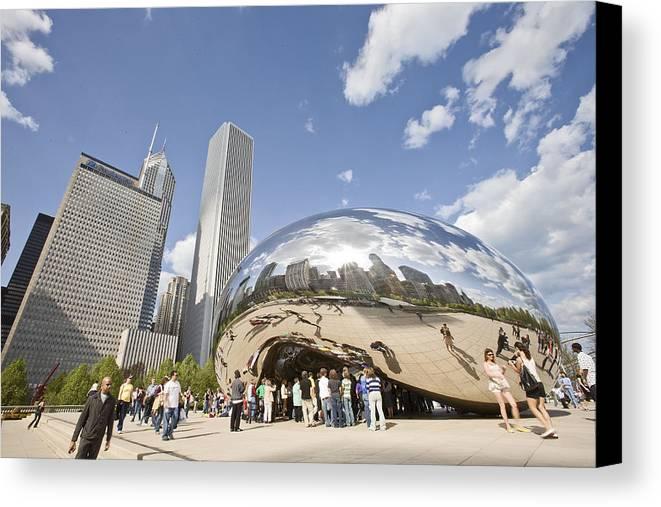 Chicago Canvas Print featuring the photograph Cloudgate At Millennium Park by Abhi Ganju