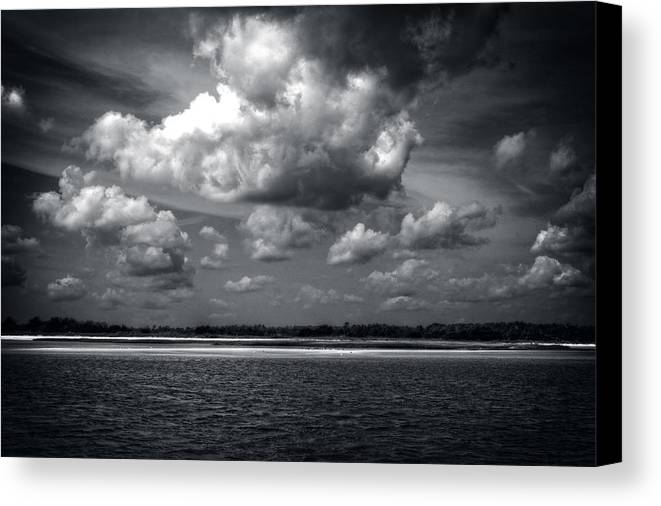Clouds Canvas Print featuring the photograph Clouds Over Masonboro Island In Black And White by Greg Mimbs