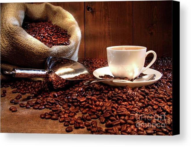 Aroma Canvas Print featuring the photograph Coffee Cup With Burlap Sack Of Roasted Beans by Sandra Cunningham
