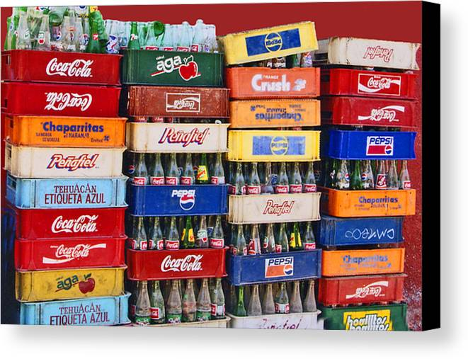 Cartons Canvas Print featuring the photograph Coke Bottles Mexican Style by Rianna Stackhouse