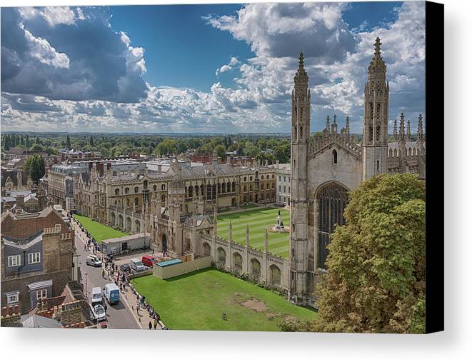 Cambridge Canvas Print featuring the photograph College Of Kings by Monika Tymanowska