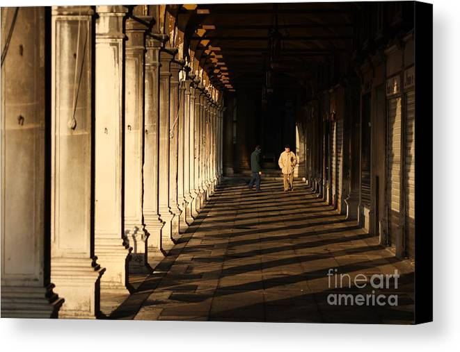 Venice Canvas Print featuring the photograph Collonade At San Marco In Venice In The Morning by Michael Henderson