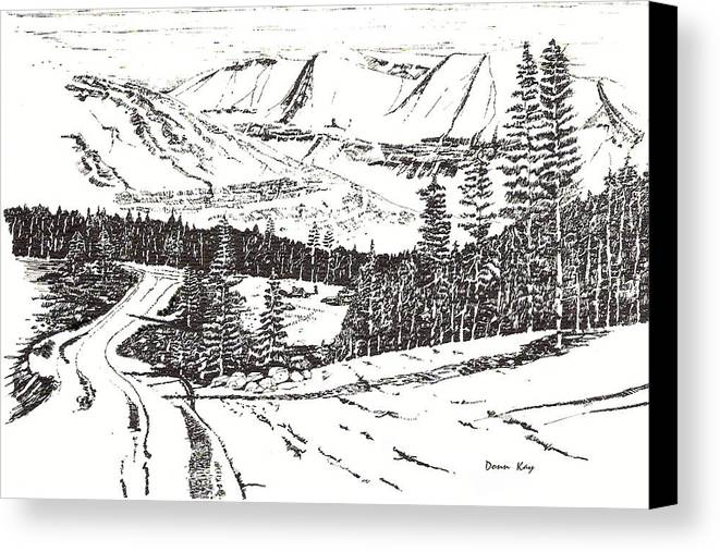 Colorado Mountains Snow Ink Drawing Canvas Print featuring the drawing Colorado Mountain Foothills by Donn Kay