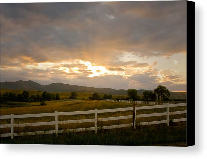 Bo Insogna Canvas Print featuring the photograph Colorado Rocky Mountain Country Sunset by James BO Insogna