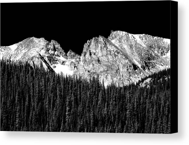 Indian Peaks Canvas Print featuring the photograph Colorado Rocky Mountains Indian Peaks Fine Art Bw Print by James BO Insogna