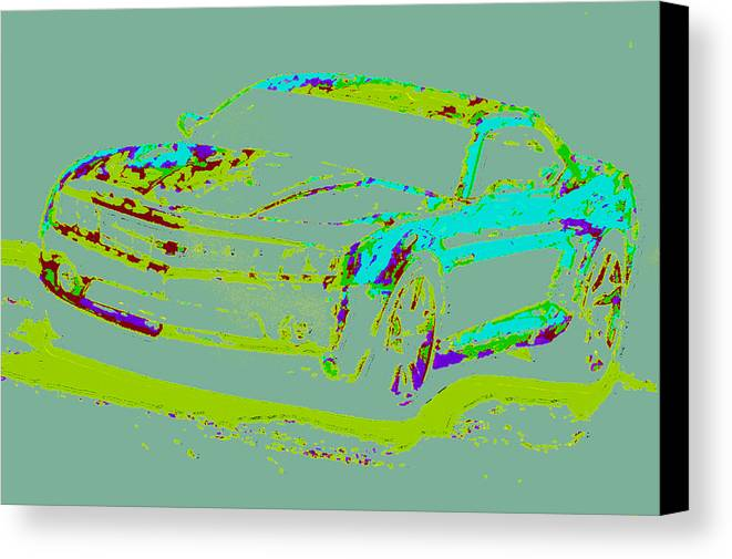 Canvas Print featuring the digital art Colored Chevy D4 by Modified Image