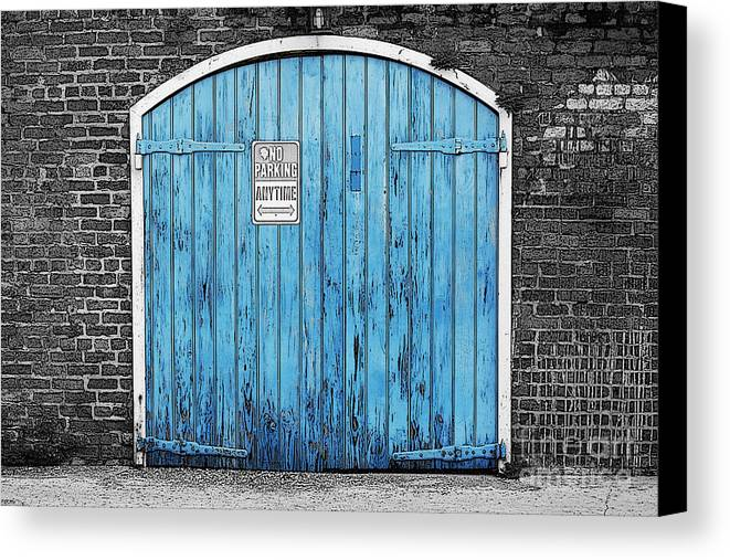 Travelpixpro Canvas Print featuring the digital art Colorful Blue Garage Door French Quarter New Orleans Color & Colorful Blue Garage Door French Quarter New Orleans Color Splash ...