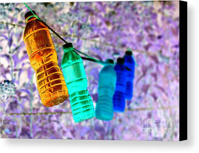Water Bottle Canvas Print featuring the photograph Colorful Water Bottles by Charrie Shockey