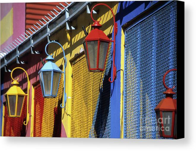 Buenos Aires Canvas Print featuring the photograph Colourful Lamps La Boca Buenos Aires by James Brunker