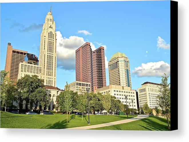 Columbus Canvas Print featuring the photograph Columbus From The Park by Frozen in Time Fine Art Photography