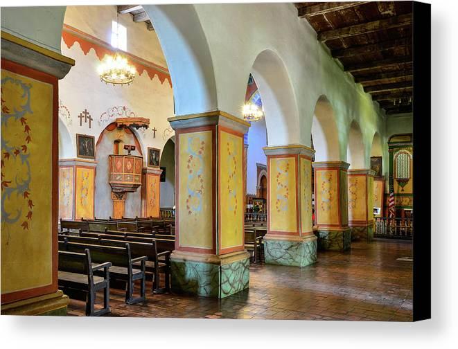 Landscape Canvas Print featuring the photograph Columns At San Juan Bautista Mission by Javier Flores