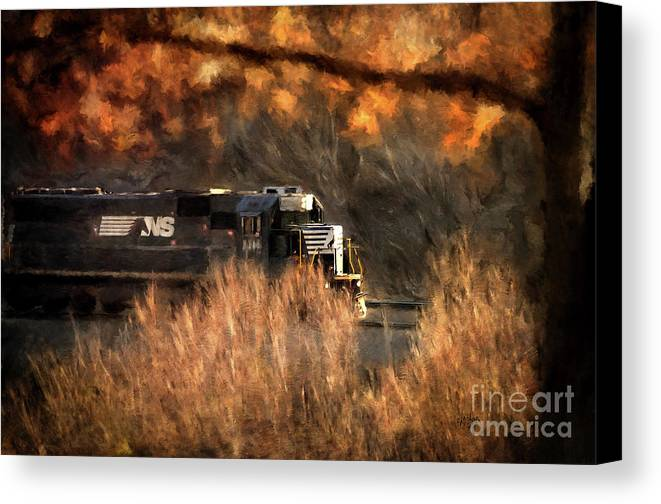 Train Canvas Print featuring the photograph Comin' Round The Mountain by Lois Bryan