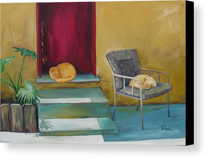 Cat Canvas Print featuring the painting Companions by Karen Doyle