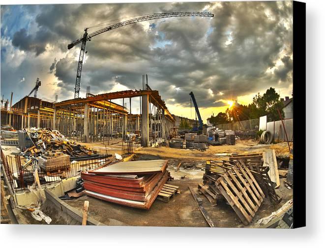 Apartment Canvas Print featuring the photograph Construction Site by Jaroslaw Grudzinski