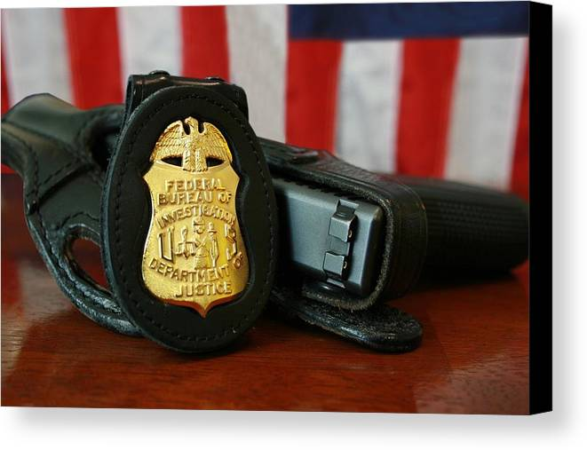 History Canvas Print featuring the photograph Contemporary Fbi Badge And Gun by Everett