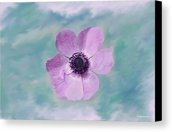 Flowers Floral Macro Nature Gardens Pink Purple Blue Green White Petals Spring Flowers Canvas Print featuring the photograph Cool Spring by Linda Sannuti