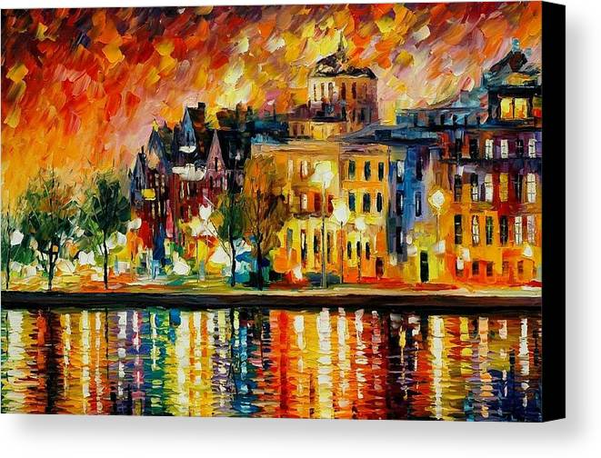 City Canvas Print featuring the painting Copenhagen Original Oil Painting by Leonid Afremov