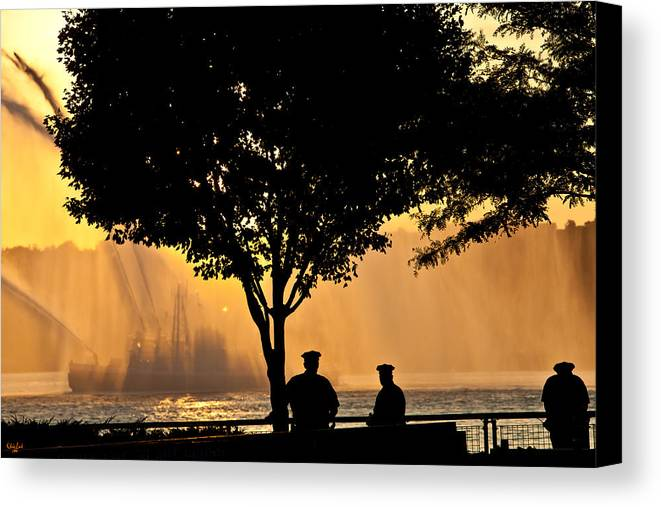 July 4th Canvas Print featuring the photograph Cops Watch A Fireboat On The Hudson River by Chris Lord