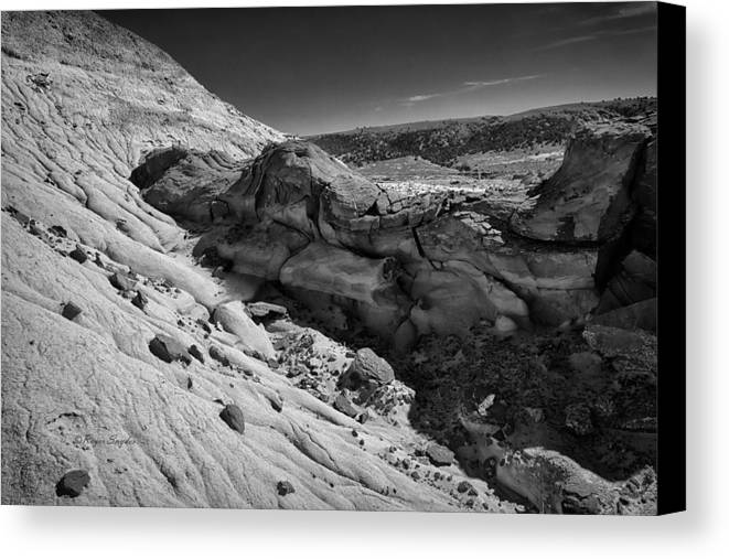 Beautiful Photos Canvas Print featuring the photograph Cottonwood Creek Strange Rocks 7 Bw by Roger Snyder