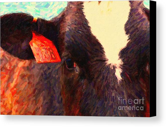 Wildlife Canvas Print featuring the photograph Cow 138 Reinterpreted by Wingsdomain Art and Photography
