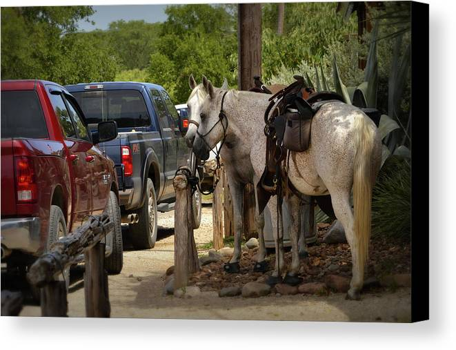 Trucks Canvas Print featuring the photograph Cowboy Cars by Nadalyn Larsen