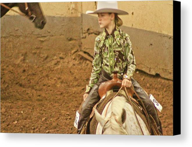 Culture Oklahoma America Canvas Print featuring the photograph Cowgirl by Mike Judice
